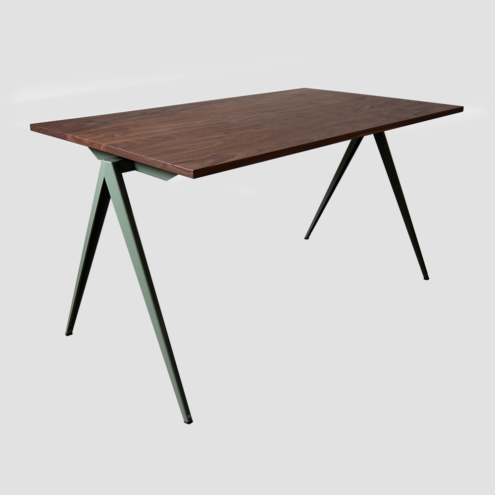 Model TD.4 Table in Ocher Brown and Walnut Top for GALVANITASCement Gray