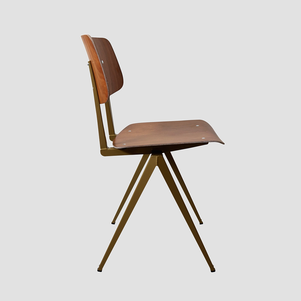 Model S.16 Chair in Ebony and Ocher Brown for GALVANITASBrown & <br>Pearl Gold