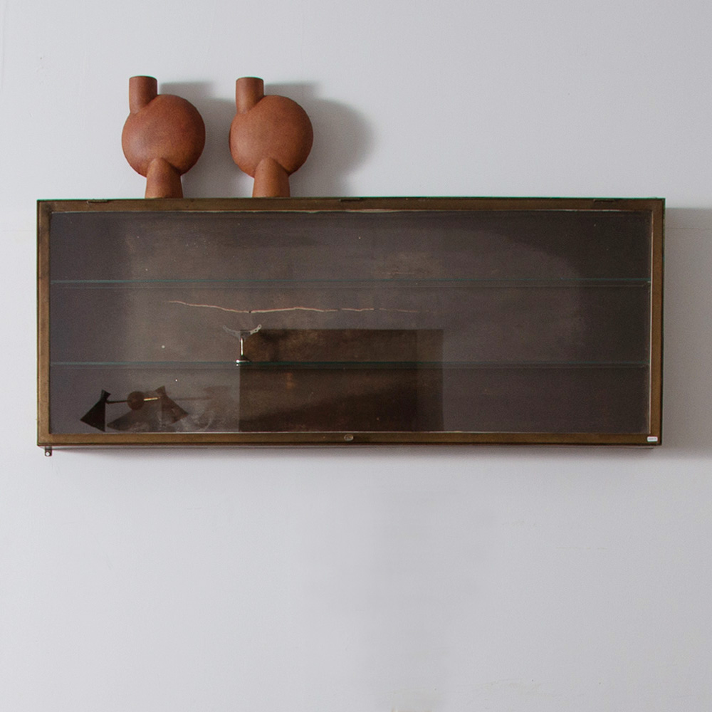 Antique Wall Glass Show Case in Brass and Glass