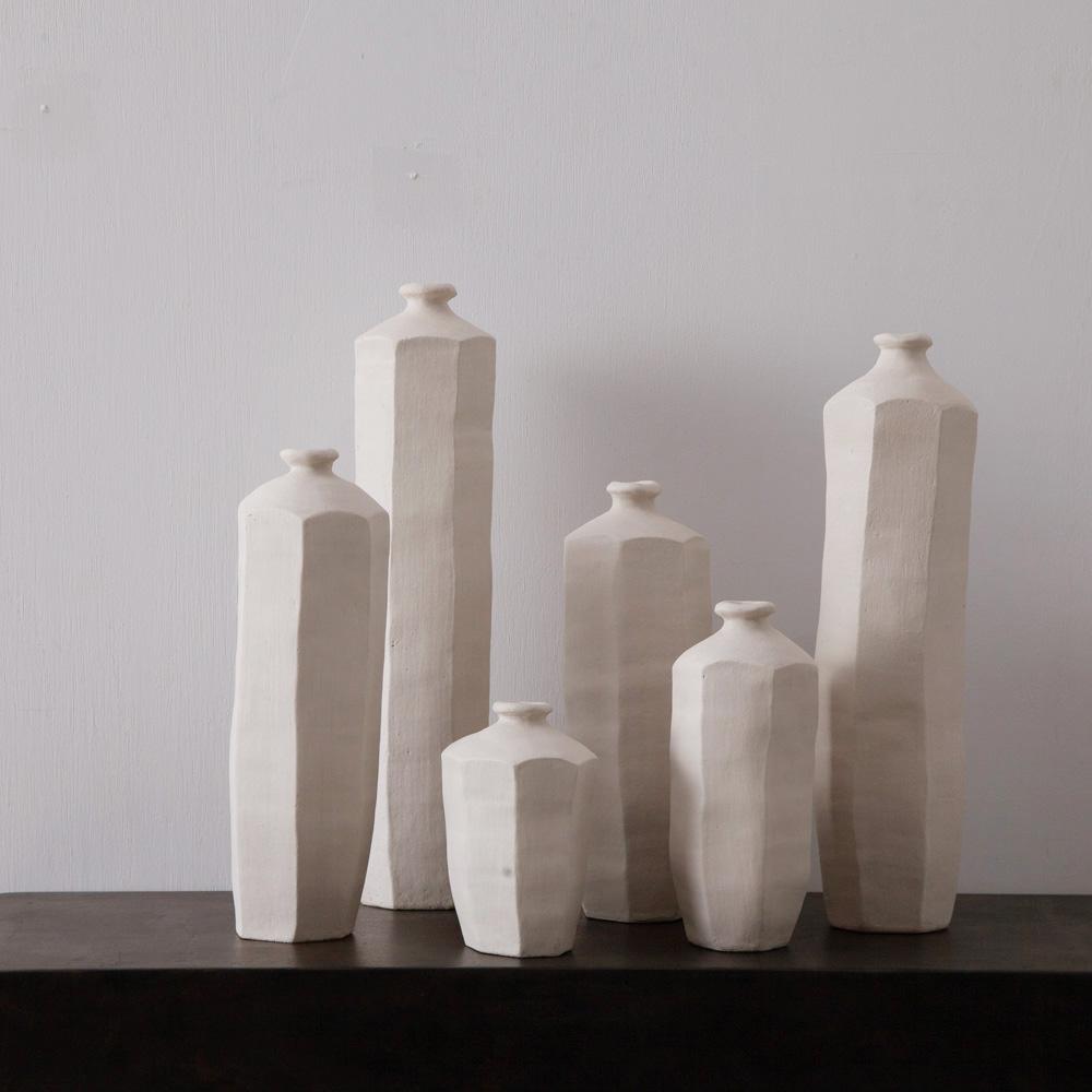 Hexagonal Flower Vase in Stone Ware by Luna Mara