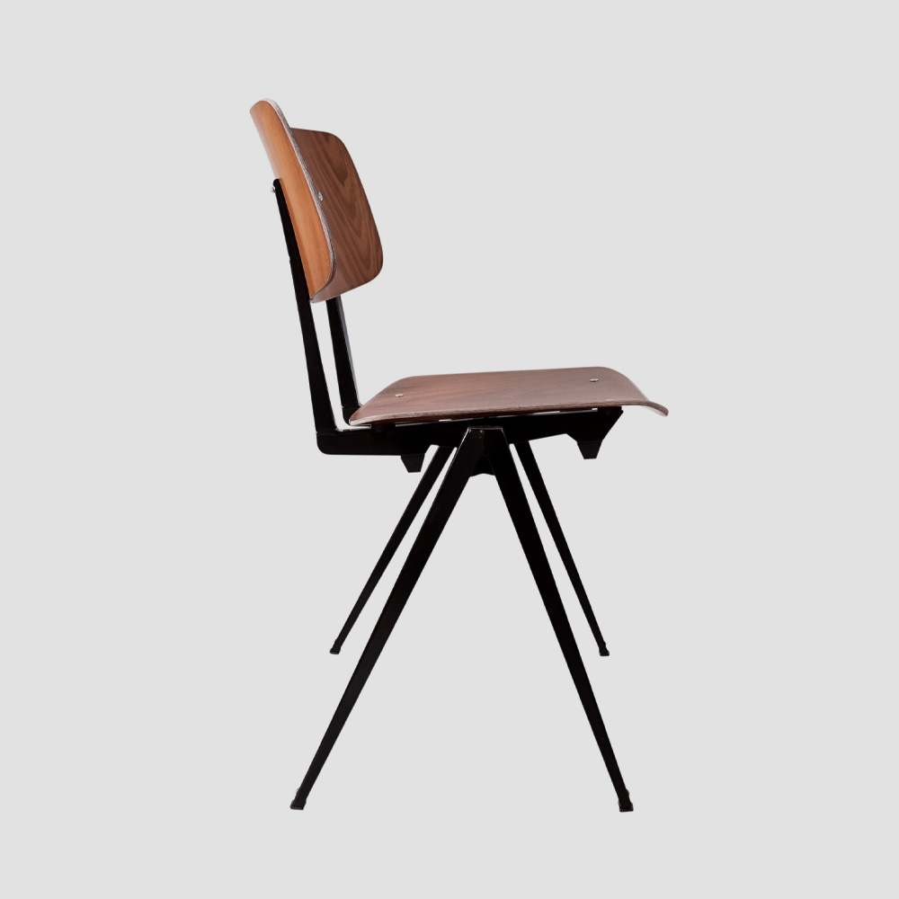 Model S.16 Stacking Chair in Brown and Black for GALVANITASBrown & Black